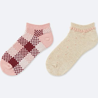 GIRLS SHORT SOCKS (2 PAIRS), PINK, medium