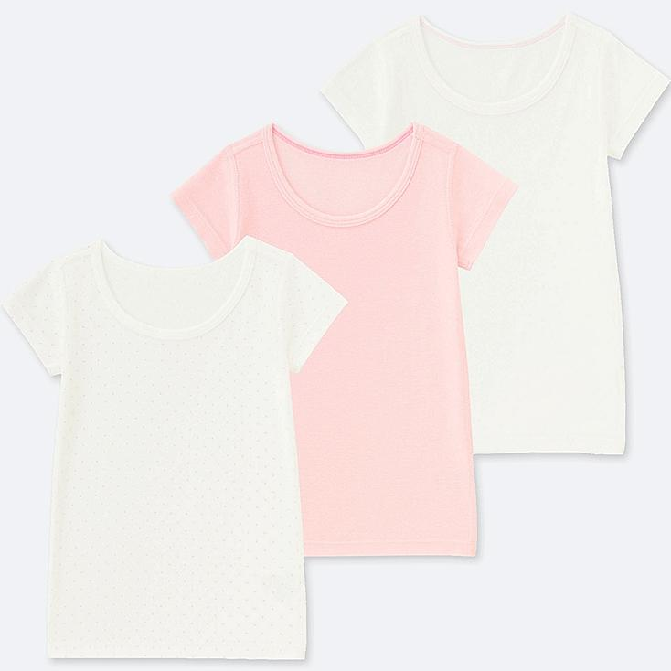 TODDLER COTTON INNER SHORT-SLEEVE T-SHIRT 3 PACK, PINK, large