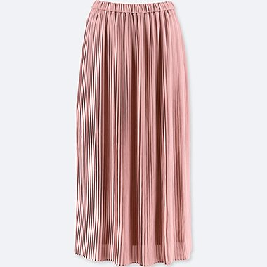 WOMEN HIGH-WAIST CHIFFON PLEATED SKIRT, PINK, medium