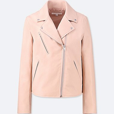 WOMEN SYNTHETIC LEATHER RIDERS JACKET, PINK, medium