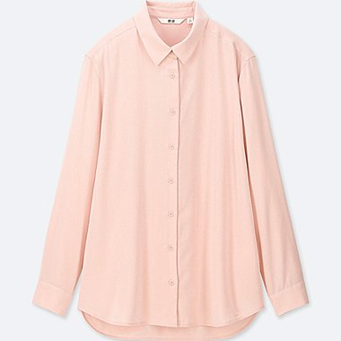 WOMEN RAYON LONG-SLEEVE BLOUSE, PINK, medium