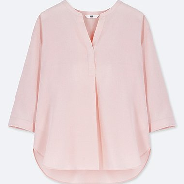 WOMEN RAYON SKIPPER COLLAR 3/4 SLEEVE BLOUSE, PINK, medium