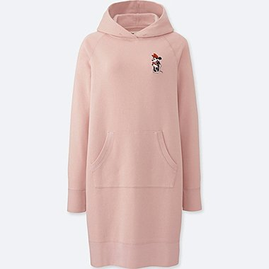 WOMEN MICKEY STANDS LONG-SLEEVE SWEATSHIRT DRESS, PINK, medium