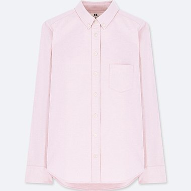 WOMEN OXFORD LONG-SLEEVE SHIRT (ONLINE EXCLUSIVE), PINK, medium