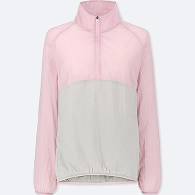 WOMEN LIGHT POCKETABLE HALF-ZIP BOMBER JACKET, PINK, medium