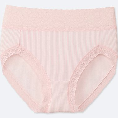 WOMEN STRIPE HIGH-RISE BRIEFS, PINK, medium