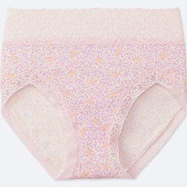 WOMEN FLOWER-PRINT HIGH-RISE BRIEFS, PINK, medium