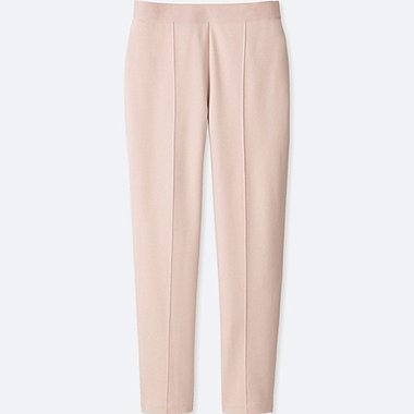 WOMEN PONTE SLIM PANTS, PINK, medium