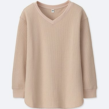 WOMEN WAFFLE V NECK LONG SLEEVE SWEATER