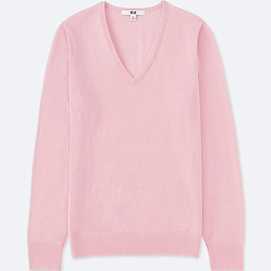 WOMEN EXTRA FINE MERINO V-NECK SWEATER, PINK, medium