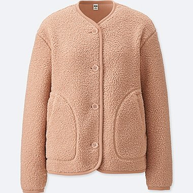 WOMEN FLEECE COLLARLESS JACKET