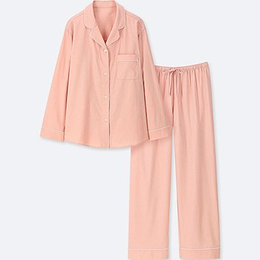 WOMEN COTTON LONG-SLEEVE PAJAMAS, PINK, medium