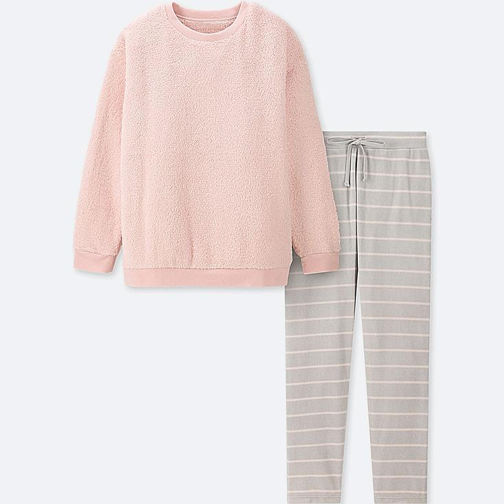 WOMEN LONG-SLEEVE STRIPED FLEECE SET, PINK, large