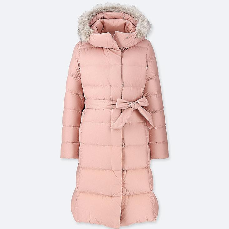 WOMEN LIGHTWEIGHT DOWN HOODED COAT, PINK, large