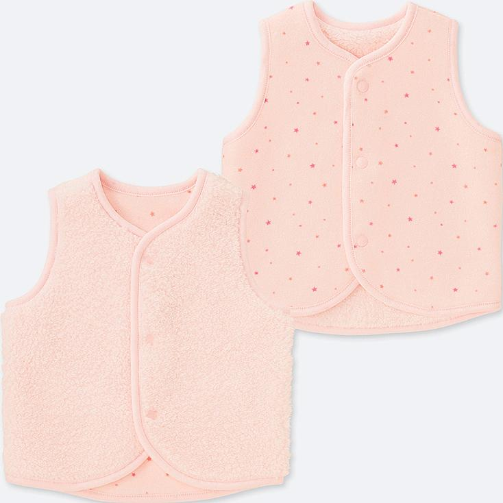 NEWBORN FLUFFY YARN FLEECE VEST REVERSIBLE, PINK, large