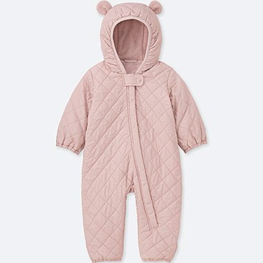 NEWBORN WARM PADDED LONG-SLEEVE ONE-PIECE OUTFIT, PINK, medium