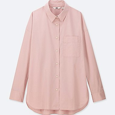 WOMEN EXTRA FINE COTTON LONG-SLEEVE SHIRT, PINK, medium