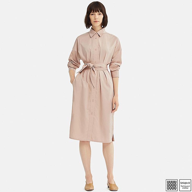 WOMEN U COTTON SATIN LONG-SLEEVE SHIRT DRESS, PINK, large