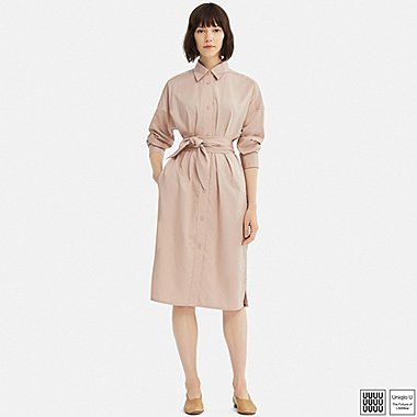WOMEN UNIQLO U COTTON SATIN LONG SLEEVE SHIRT DRESS