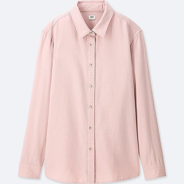WOMEN Flannel Long Sleeve Shirt, PINK, large