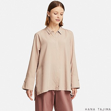 WOMEN TENCEL FLYFRONT LONG-SLEEVE TUNIC (HANA TAJIMA), PINK, medium