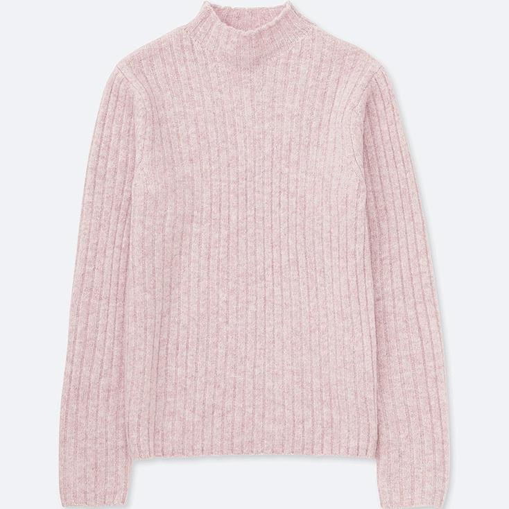 WOMEN WIDE-RIBBED MOCK NECK SWEATER, PINK, large