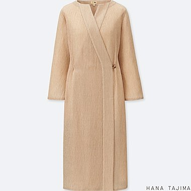 WOMEN WRAP LONG COAT (HANA TAJIMA), PINK, medium