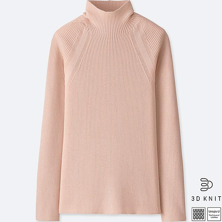 WOMEN U 3D EXTRA FINE MERINO RIBBED SWEATER, PINK, large
