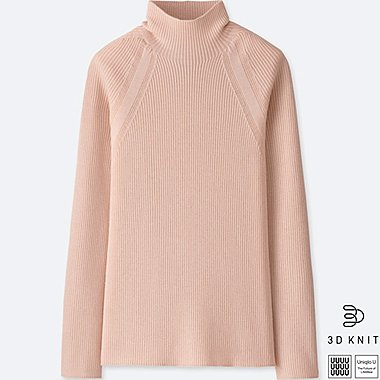WOMEN UNIQLO U 3D EXTRA FINE MERINO RIBBED HIGH NECK SWEATER