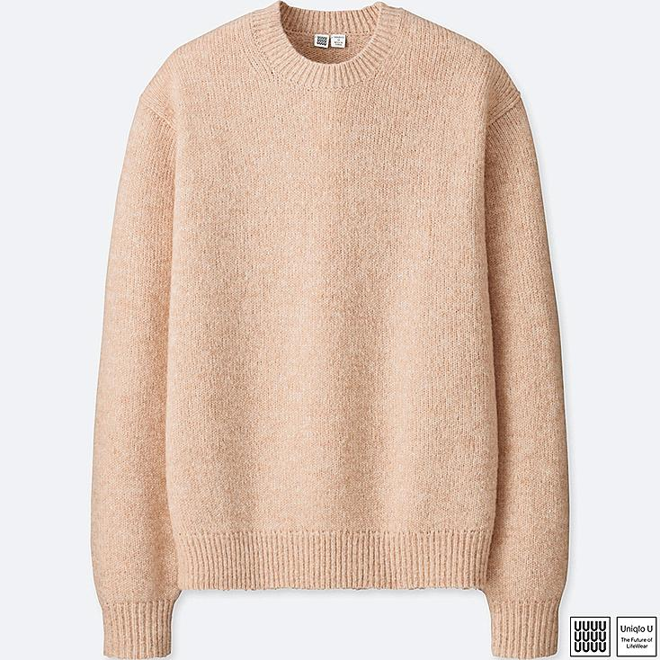 MEN U MELANGE CREW NECK LONG-SLEEVE SWEATER, PINK, large
