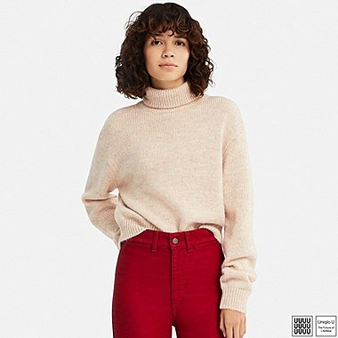 WOMEN U MELANGE TURTLENECK SWEATER, PINK, medium