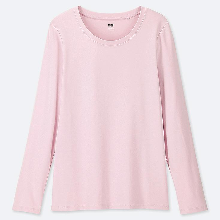 WOMEN 1*1 RIBBED COTTON CREW NECK LONG-SLEEVE T-SHIRT, PINK, large