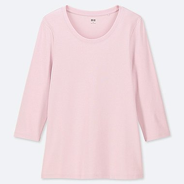 WOMEN 1*1 RIBBED COTTON CREW NECK 3/4 SLEEVE T-SHIRT, PINK, medium