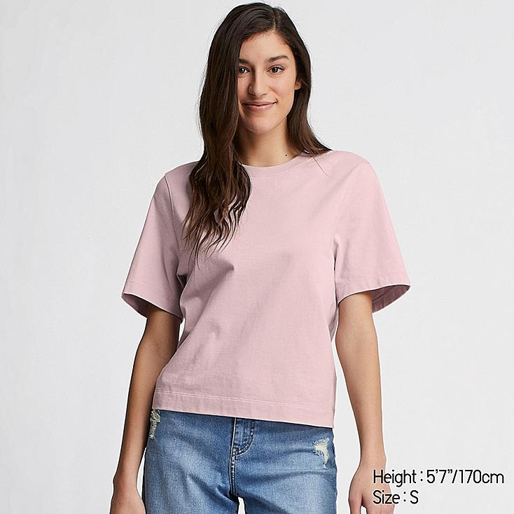 WOMEN CROPPED CREW NECK SHORT-SLEEVE T-SHIRT, PINK, large