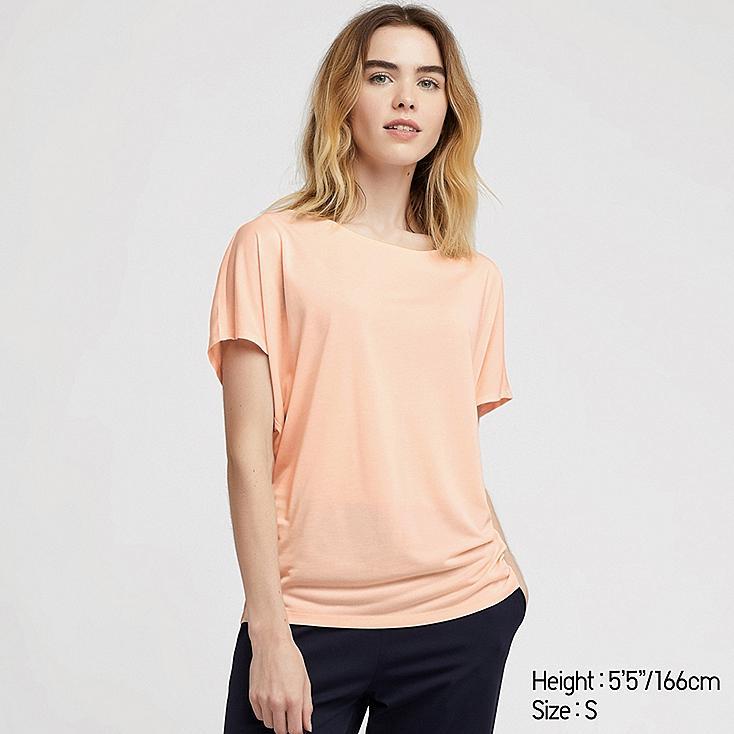 WOMEN DRAPE CREW NECK SHORT-SLEEVE T-SHIRT, PINK, large