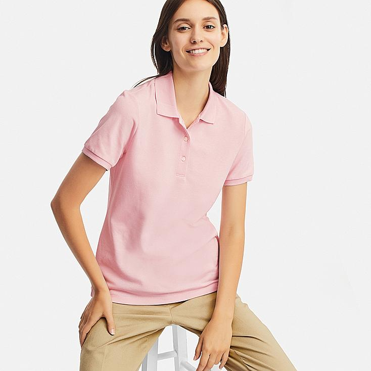 WOMEN STRETCH PIQUE SHORT-SLEEVE POLO SHIRT, PINK, large