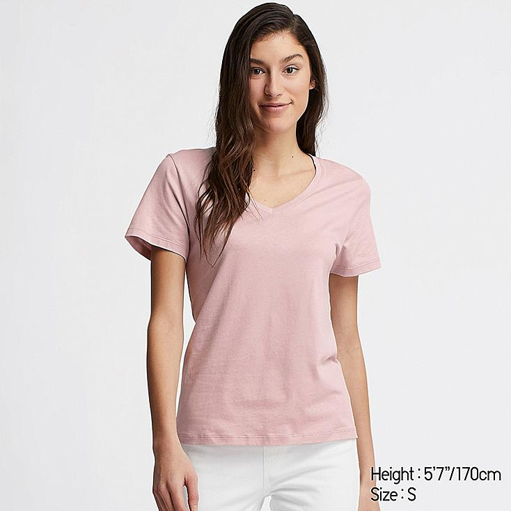 WOMEN SUPIMA® COTTON V-NECK SHORT-SLEEVE T-SHIRT, PINK, large