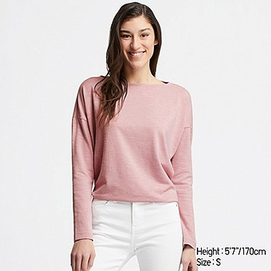 WOMEN STRETCH SLUB JERSEY BOAT NECK LONG-SLEEVE T-SHIRT, PINK, medium
