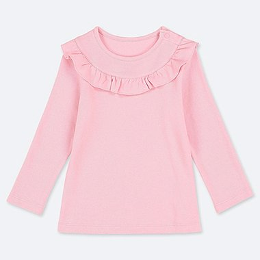 BABIES TODDLER CREW NECK LONG SLEEVE FRILL T-SHIRT