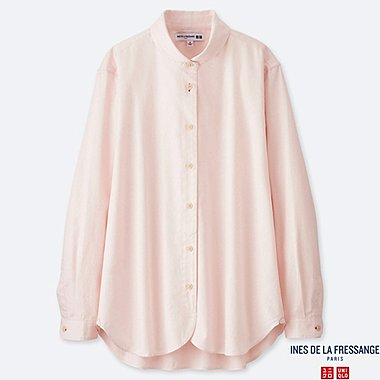 WOMEN COTTON TWILL ROUND COLLAR LONG-SLEEVE SHIRT (INES DE LA FRESSANGE), PINK, medium