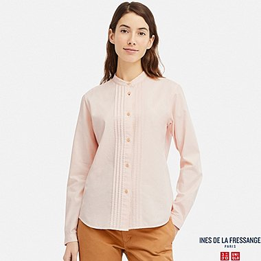 WOMEN COTTON TWILL PINTUCK LONG-SLEEVE SHIRT (INES DE LA FRESSANGE), PINK, medium