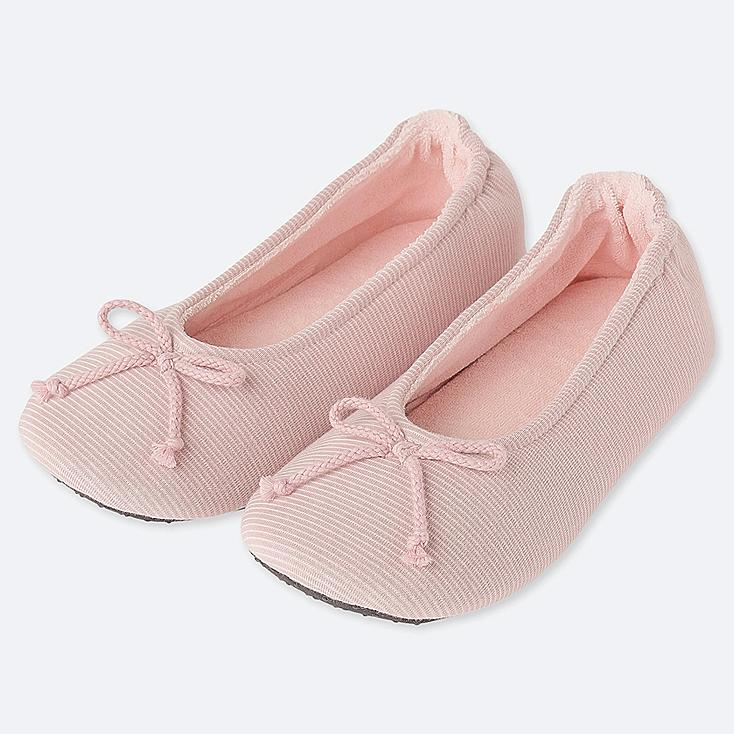 WOMEN FRENCH TERRY BALLET SLIPPERS, PINK, large
