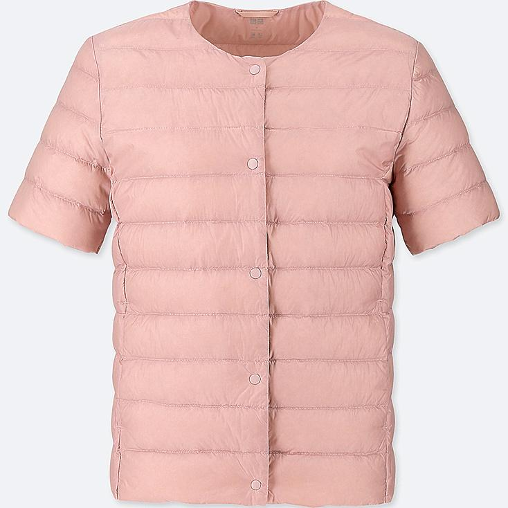 WOMEN ULTRA LIGHT DOWN COMPACT SHORT-SLEEVE JACKET (ONLINE EXCLUSIVE), PINK, large