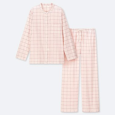 WOMEN SOFT STRETCH CHECKED LONG SLEEVED PYJAMAS