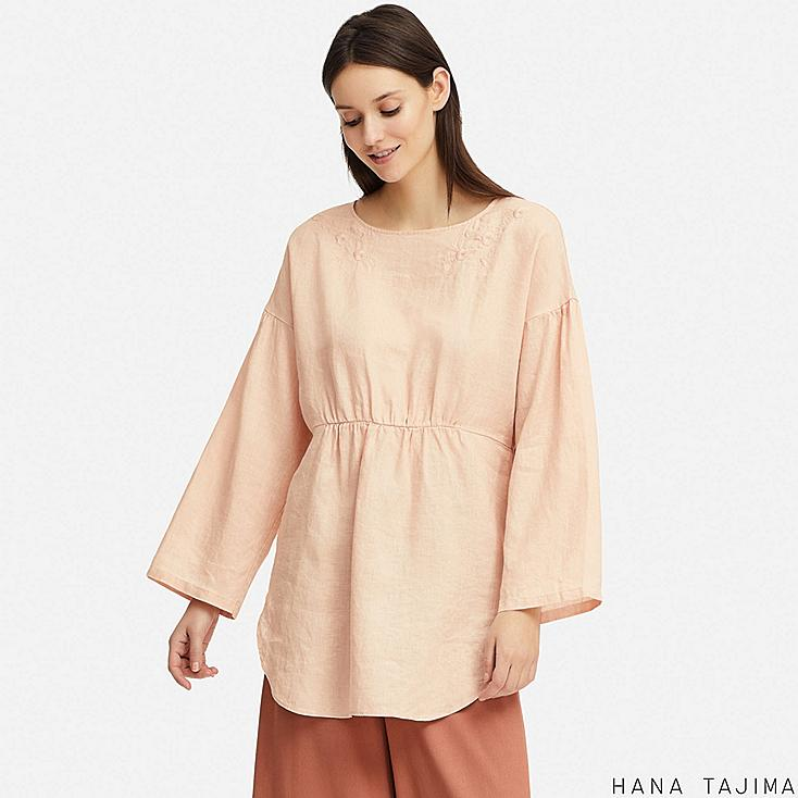 WOMEN PREMIUM LINEN EMBROIDERY LONG-SLEEVE TUNIC (HANA TAJIMA), PINK, large