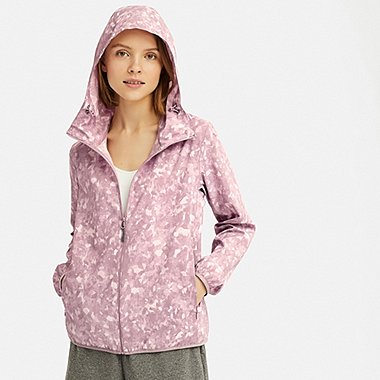 WOMEN POCKETABLE UV CUT PRINTED PARKA, PINK, medium