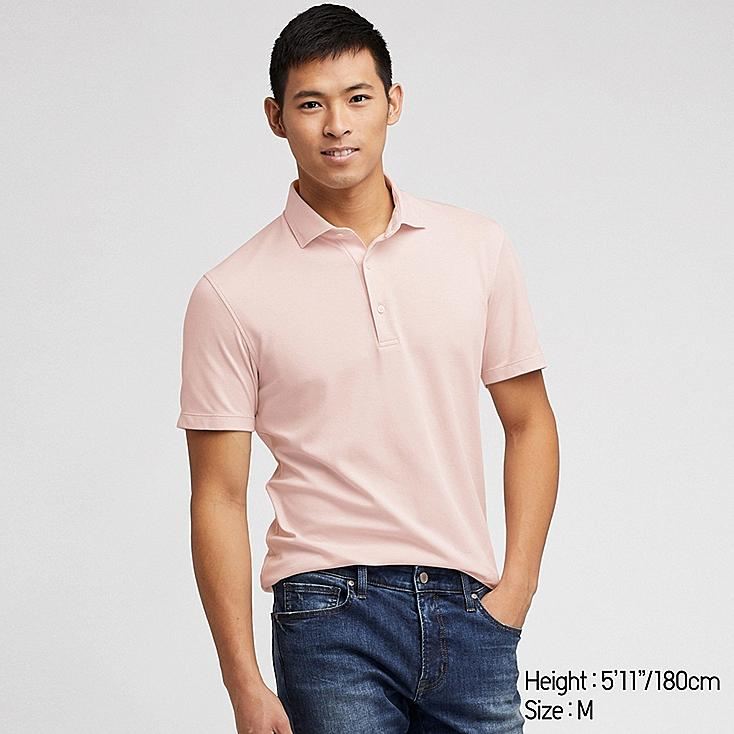 MEN AIRism SHORT-SLEEVE POLO SHIRT, PINK, large