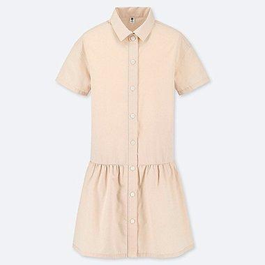 GIRLS SHIRT SHORT-SLEEVE DRESS, PINK, medium