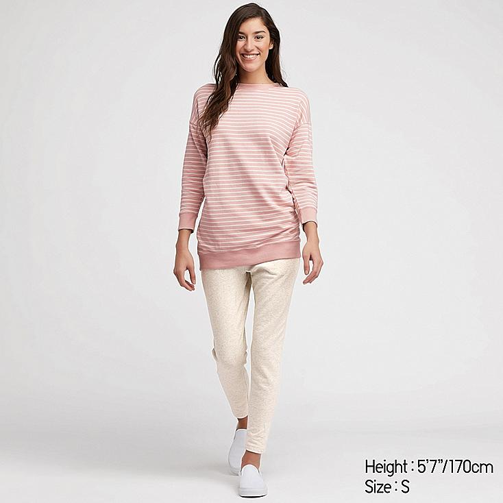 WOMEN ULTRA STRETCH TUNIC LONG-SLEEVE SET, PINK, large
