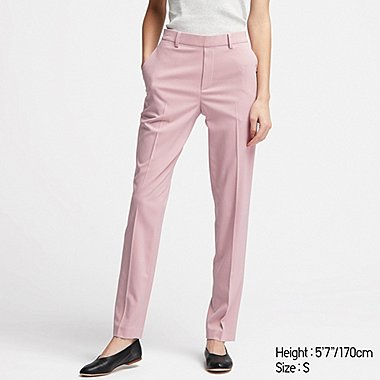 WOMEN EZY ANKLE-LEGNTH PANTS, PINK, medium